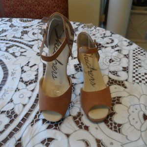 New Skechers Beige Textile/Suede Wedge Sandals 8.5